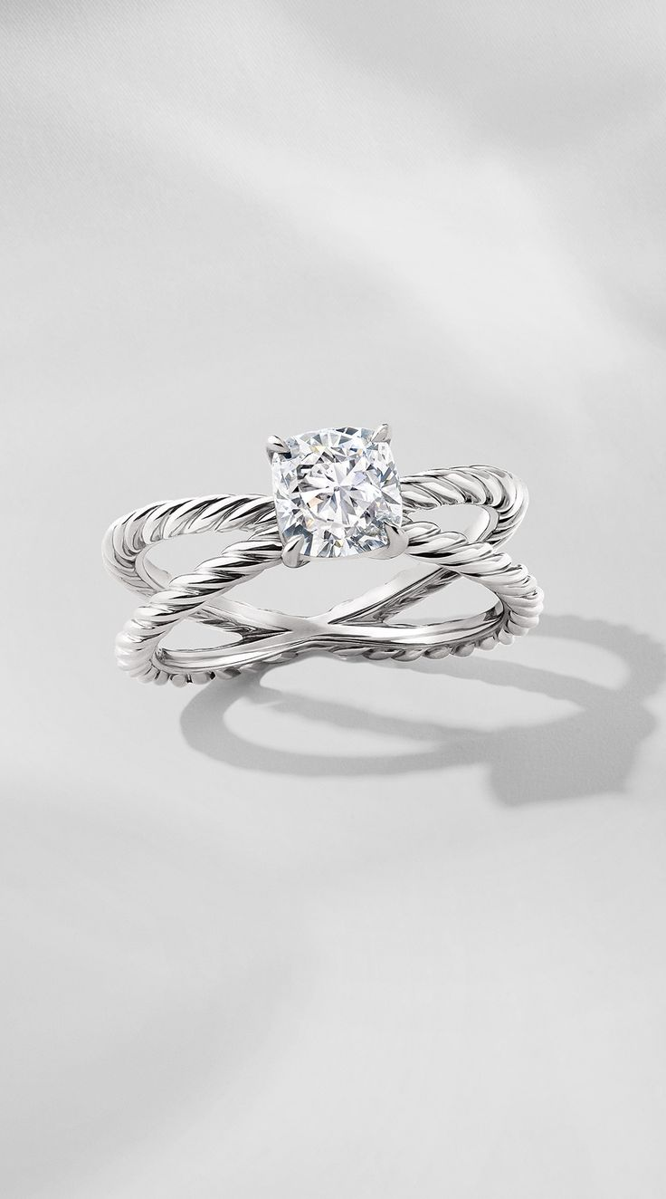 Dy Crossover Engagement Ring In Platinum With A Brilliant, Hand–selected  Diamond