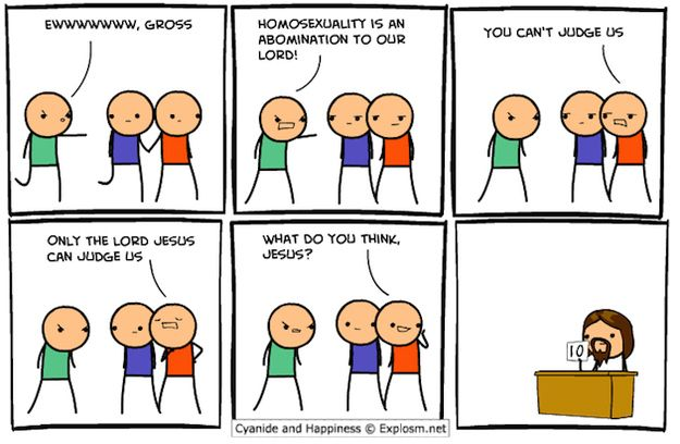 "This humorous take on the ""Homosexuality is an abomination"" argument."