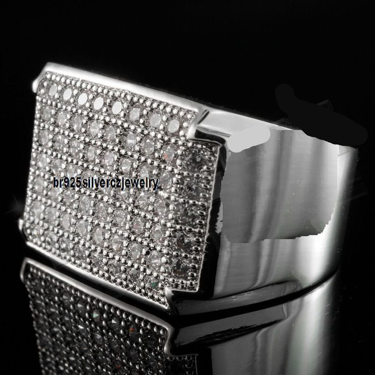 14K White Gold Fn Silver Iced Out Hip-Hop Wedding Pave Diamond Mens Pinky Ring