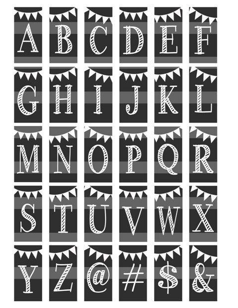 Krijt alfabet Letters initialen Monogram door DigitalDesignVault