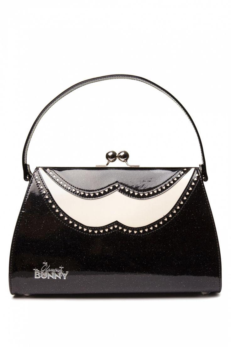 #topvintage Glamour Bunny - 50s Classic Brogue Handbag Creme Black Glitter patent