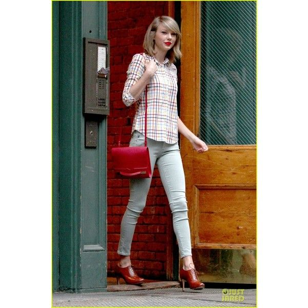 Taylor Swift is Pretty Hipster in New York City! ❤ liked on Polyvore featuring accessories, hats, hipster hat, plaid hat and tartan hat