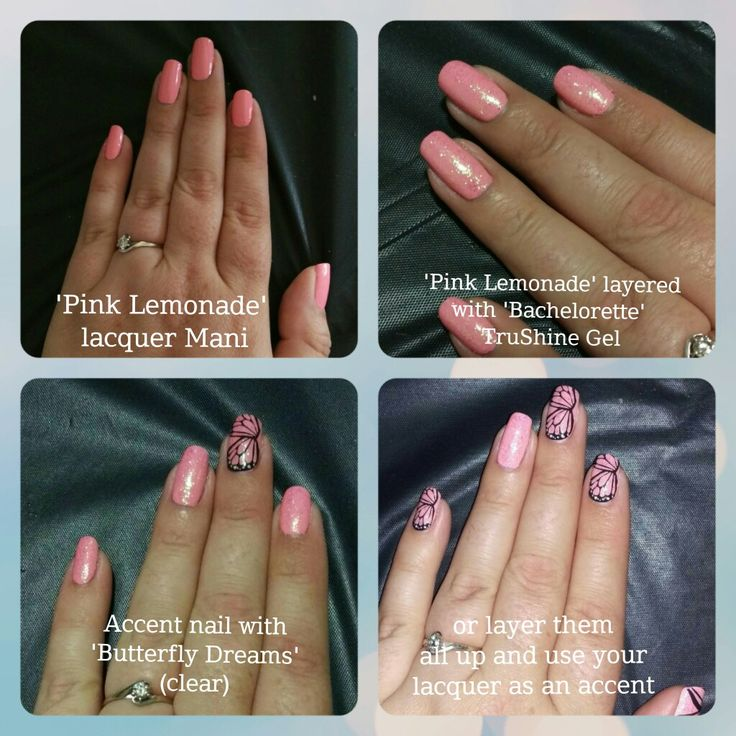 Jamberry ' pink lemonade' lacquer layered with 'bachelorette' TruShine gel and 'butterfly dreams' wrap