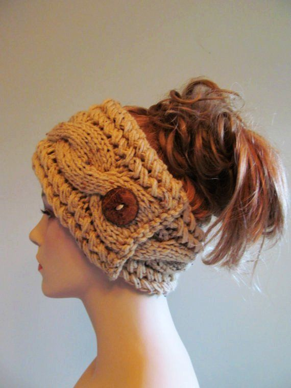 Knitted Cabled Headbands with Button - Just picture, no pattern