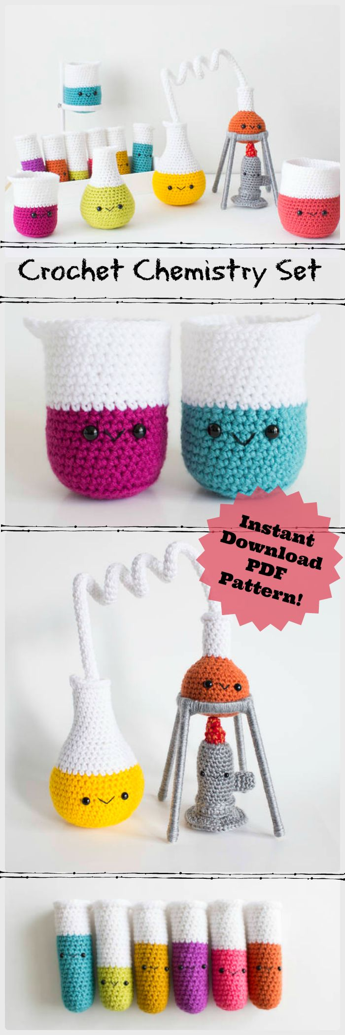 Chemistry set crochet amigurumi pattern! Whaaaaa???! This is awesome! What a fun idea to crochet for my chemistry nerd friends! #awesome #etsy #crochet #pattern #amigurumi #chemistry #beakers #ad