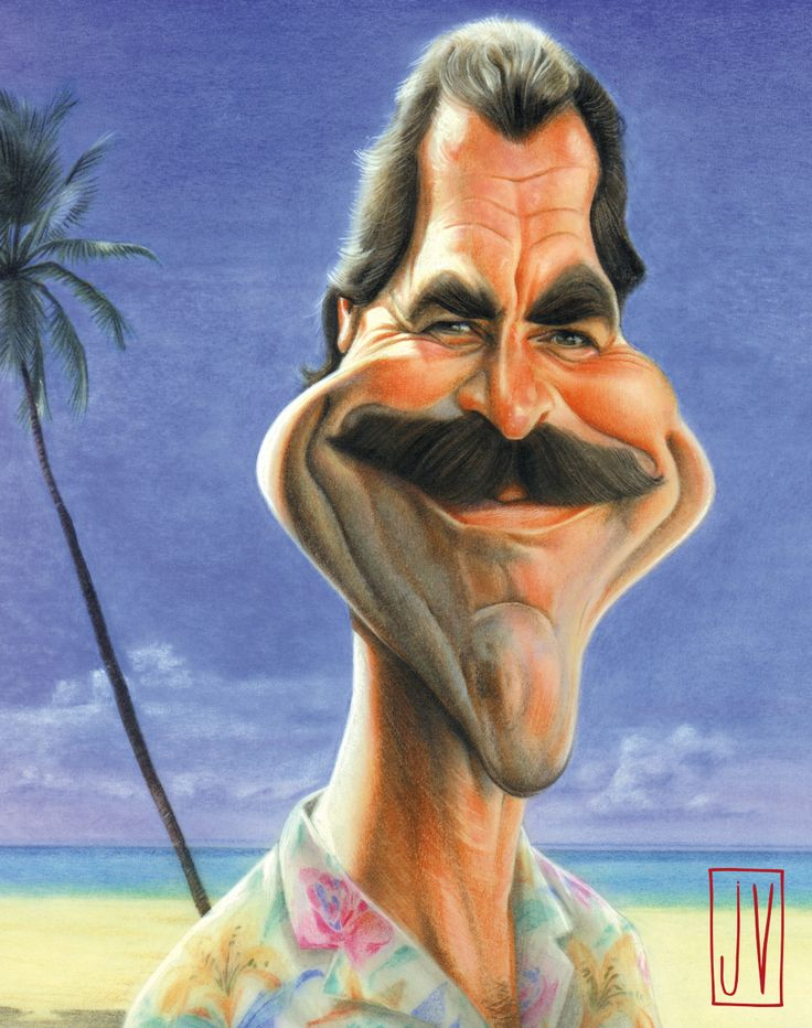 Magnum (Tom Selleck) Caricature by JV (caricature) Dunway Enterprises: http://dunway.com - http://masterpaintingnow.com/how-to-draw-everything?hop=dunway
