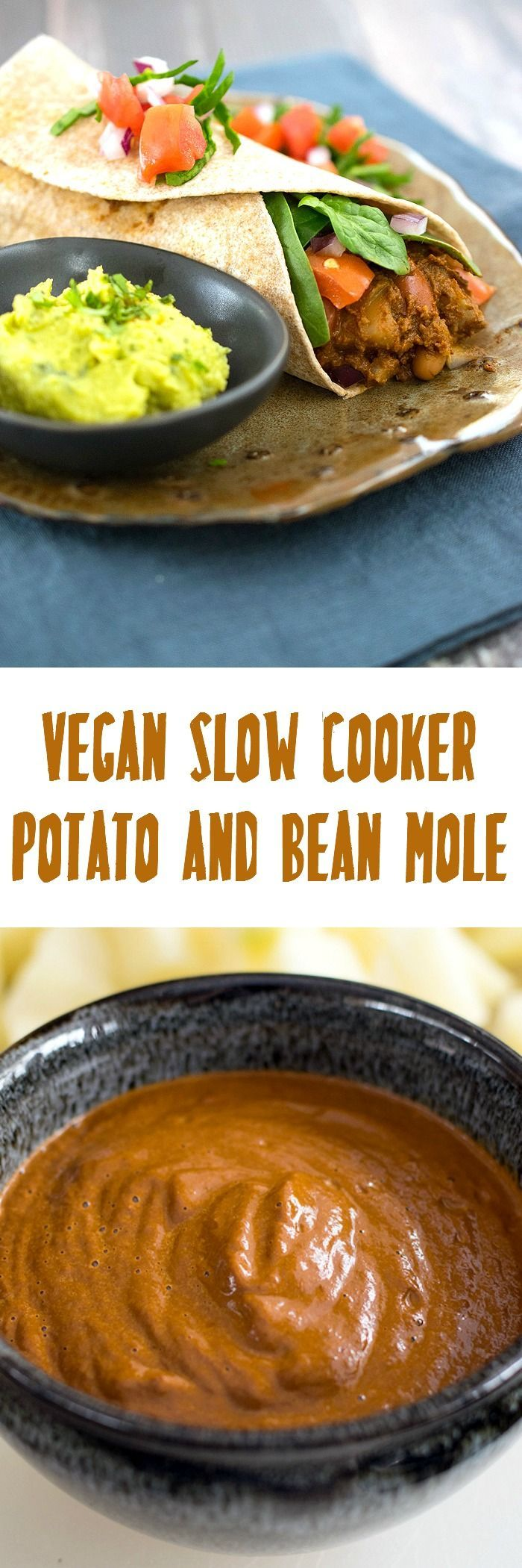 Vegan Slow Cooker Potato and Bean Mole is  a hearty dinner that's perfect for a winter night. served over rice, in tacos or burritos.