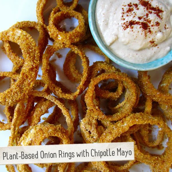 Onion Rings with a spicy vegan mayo dipping sauce made with Earth ...