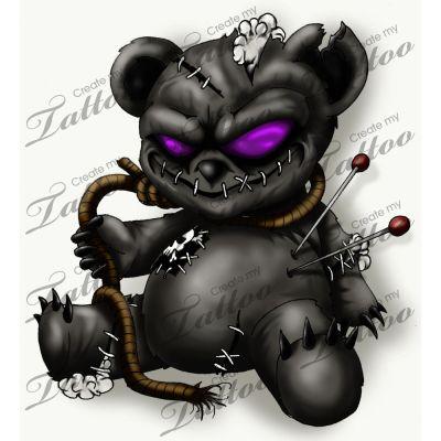 teddy bear tattoo | Marketplace Tattoo Evil Teddy Createmytattoocom