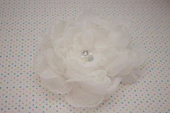Handmade antique white organza flower with by InaEvelynBoutique