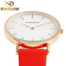 BINSSAW new ultra-thin stainless steel luxury brand quartz watch delicate contracted business real leather women wrist watch(China (Mainland))