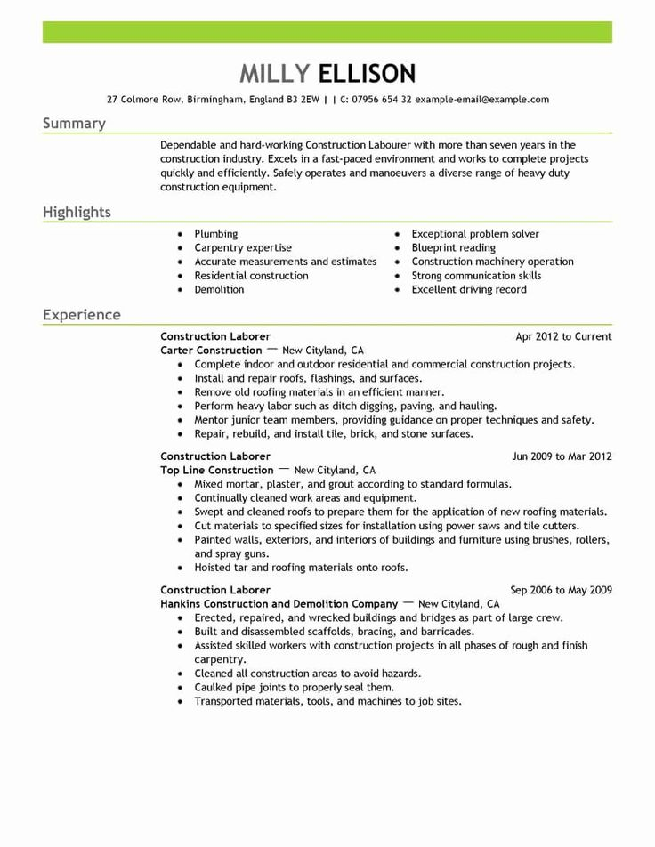 General Construction Worker Resume Beautiful Best