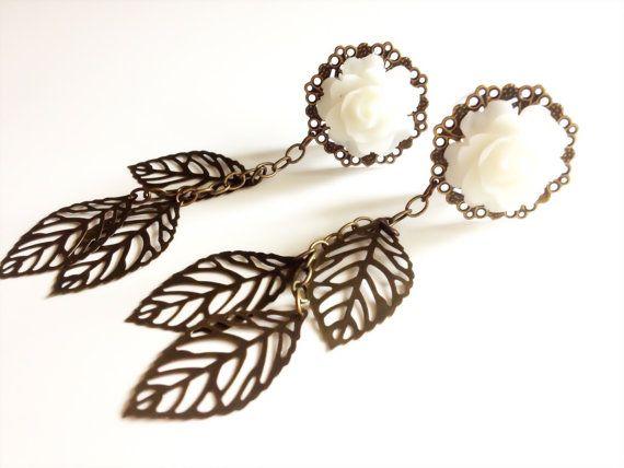 "5/8 inch Plugs 3/4"" Rose Gauges Dangle Plugs You Choose Color Custom Wedding Gauged Earrings With Dangles 11/16"", 13/16"""