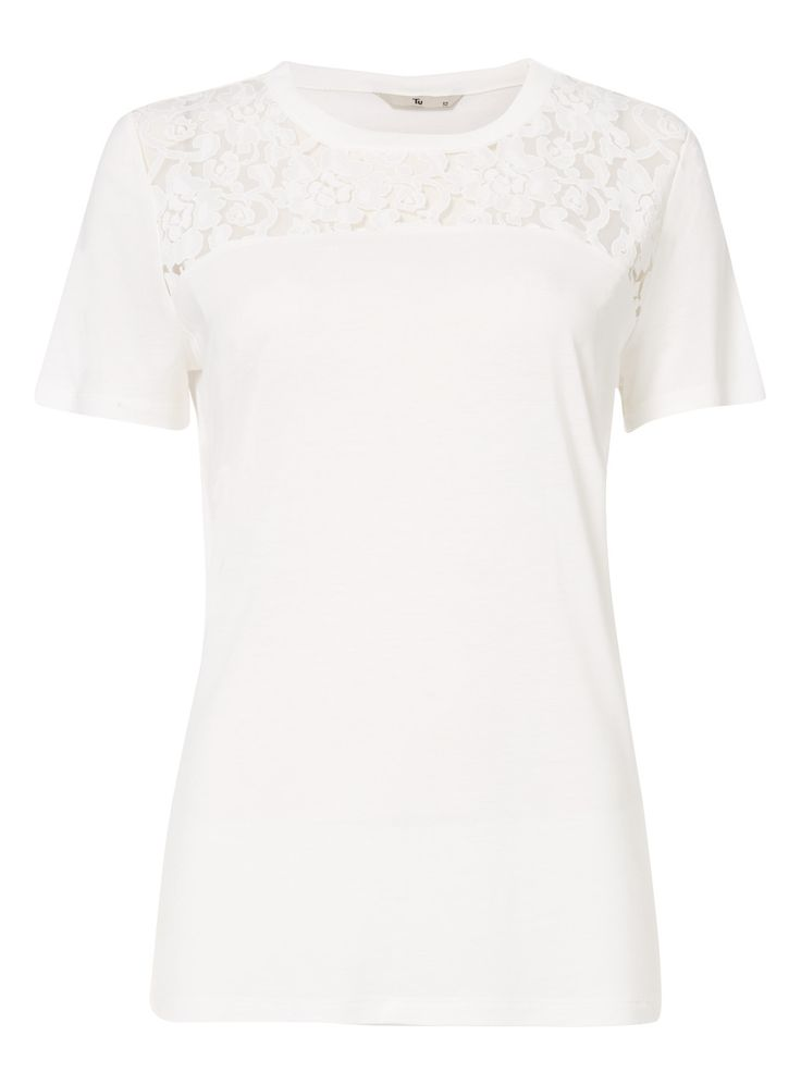 Opt for a natural look with this short sleeved burnout tee. Accented with a floral lace yoke, the white top is a refreshing wardrobe addition.  White burnout lace tee Crew neck Lace yoke Short sleeves Model's height is 5'11