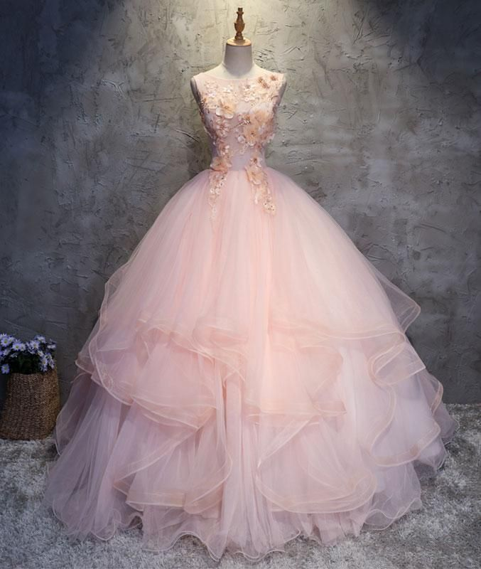 Charming Ball Gowns Round Neck Pink Tulle Long