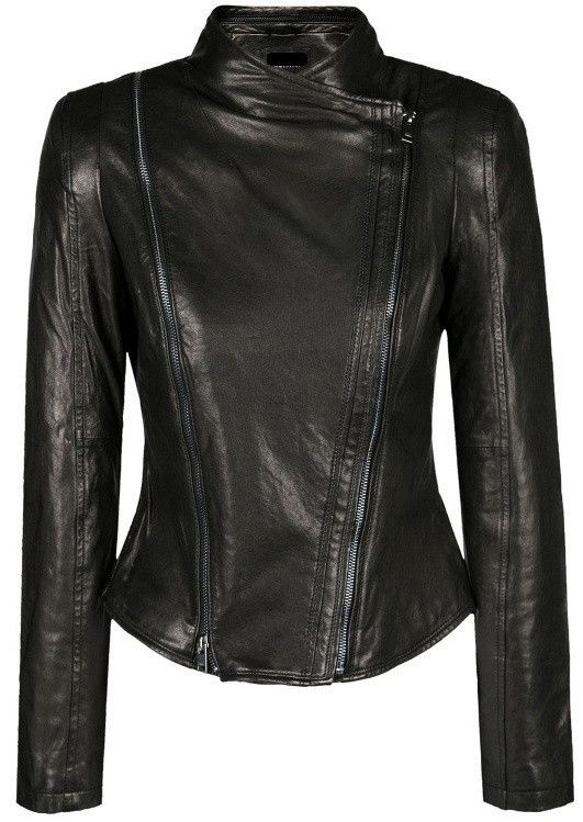 Side-Zip Black Genuine Leather Biker Jacket
