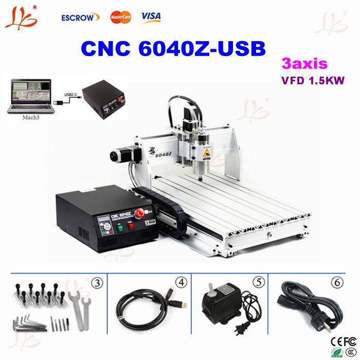 Mini cnc router 6040 USB woodworking machinery metal cutting lathe 1.5kw cnc machine 110v 220V