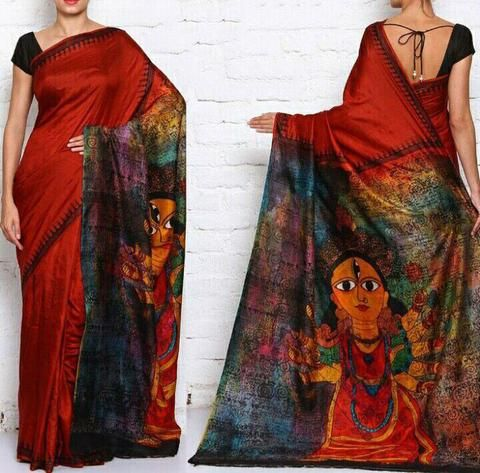Lord durga Handpainted organza saree - Only on order!