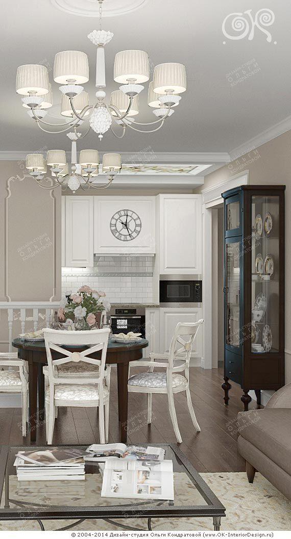 Интерьер кухни гостиной с элементами прованса и неоклассики