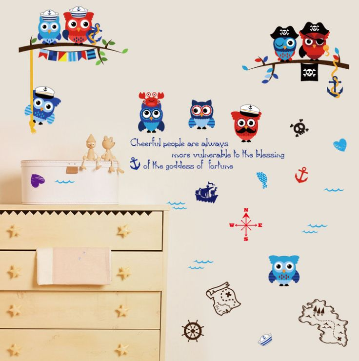 Pirate Owl Kids Room Bedroom Cabinet Kindergarten Classroom Wall Stickers Wall Stickers Decorative Art Mural Wall StickersQL-022 #Affiliate