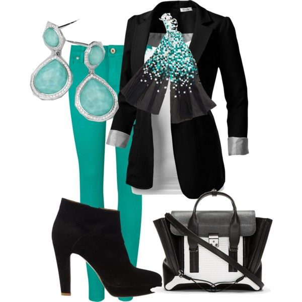 """""""green pants/black blazer casual outfit idea"""" things to wear"""