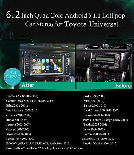 JOYING Android 5.1 Lollipop Car GPS Navigation DVD Player for Toyota Rav4/Scion/GT86/Yaris/Highlander/Corolla/Camry/Land Cruiser indash Radio Touch Screen Car Stereo 2 Din Head Unit Mirror Link WiFi