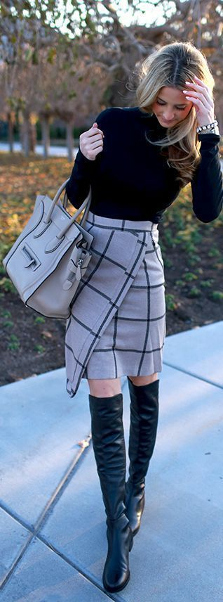 #winter #fashion / tartan skirt + black knit