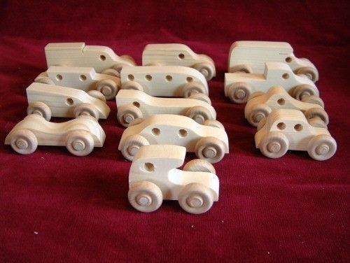 12 Assorted Pine Mini-Vehicles, Unfinished.