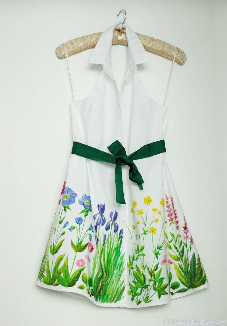 Ręcznie malowana sukienka w kwiaty polne / Hand painted dress, wild flowers