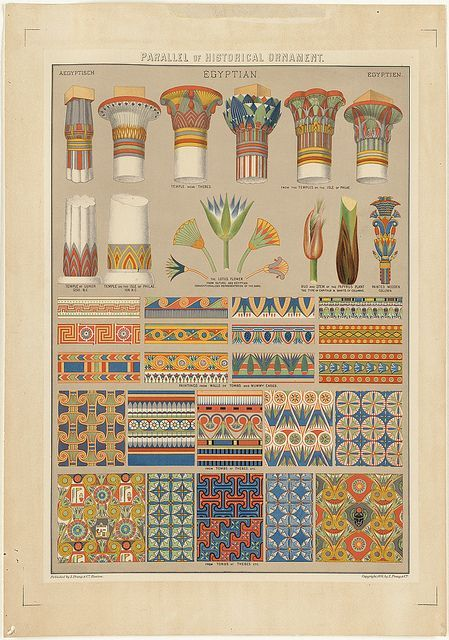 Historical Ornament sheet of styles used in Egyptian architecture:
