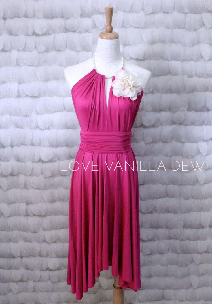 Demoiselle d'honneur robe Infinity Dress Magenta rose genou longueur Wrap Convertible robe de robe de mariée by LoveVanillaDew on Etsy