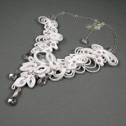 Delicate, bridal necklace made of soutache and Swarovski crystals.