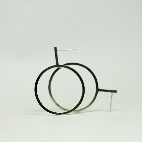 Hoop silver stud earrings by AnnaSlezakJewellery on Etsy