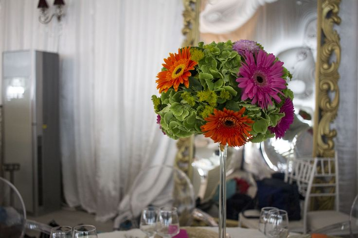 Pink and Orange Gerbera Tall Upside Down Martini Glass Centerpice