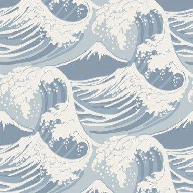 Papier peint mer et marin bleu GREAT WAVE - Cole and Son - Au fil des Couleurs