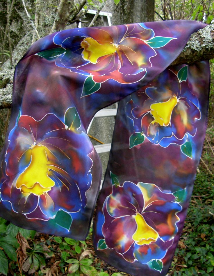 Tawny Orchid Scarf. Pure Silk Hand Painted. A wonderful gift for Mothers Day.  See our MOTHERS DAY SALE  www.satherleysilks.co.nz