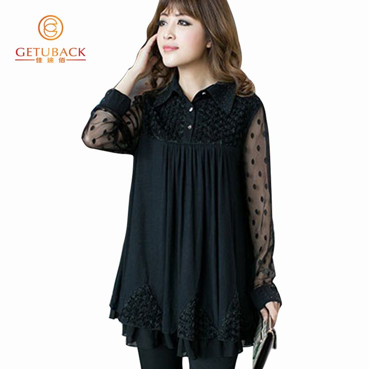 Women Blouses 2017 Summer Chiffon Plus Size 5XL Summer Blouse Long sleeve Lace KB763