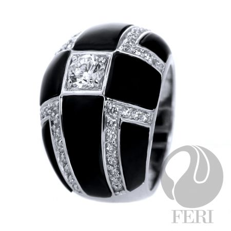 FERI Fantastic- ring--Sterling silver, AAA cubic zirconia and black onyx, 0.5 natural rhodium plated