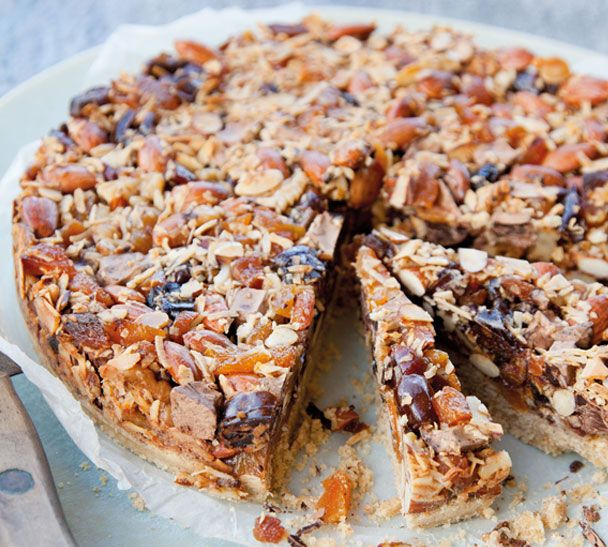 Florentine Slice - this recipe comes from the little bakery at Queenstown's Mediterranean Market. A clever adaptation of the classic Florentine biscuit, it is quick to put together, slices well and is hardy enough to transport to a pot-luck dinner or picnic. Annabel Langbein