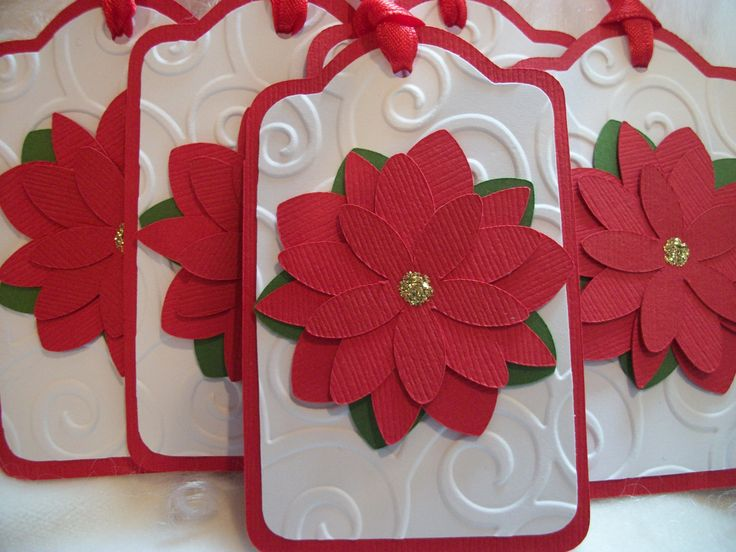handmamde Christmas Gift Tags ... red and white ... layered flowers ... ribbon ties ... from Etsy