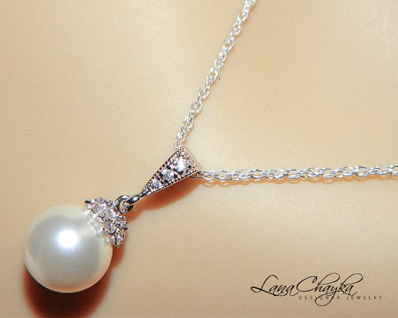 Wedding Bridal Pearl Necklace 925 Sterling Silver Swarovski White Pearl Cubic Zirconia Rhodium Sterling Silver FREE US Shipping