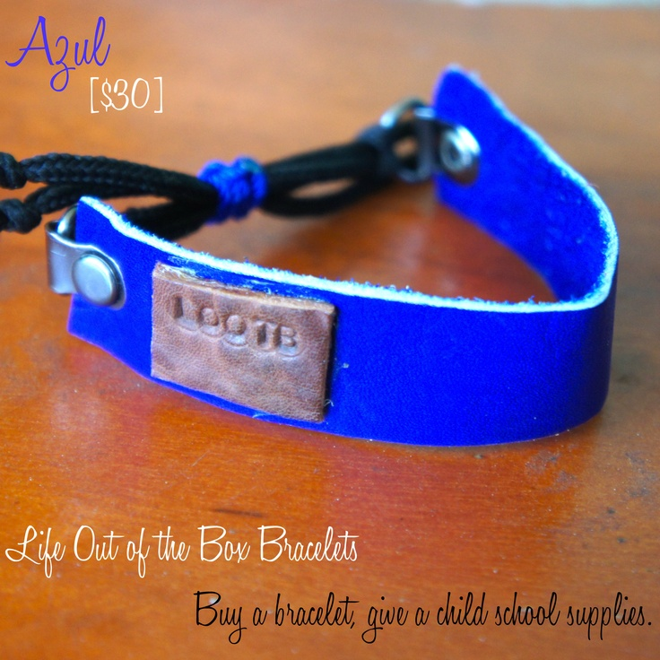 LOOTB Azul: $30. This bracelet was hand made in Nicaragua making every single one a special piece of art. Buy a bracelet, give a child school supplies. That's Life Out of the Box.