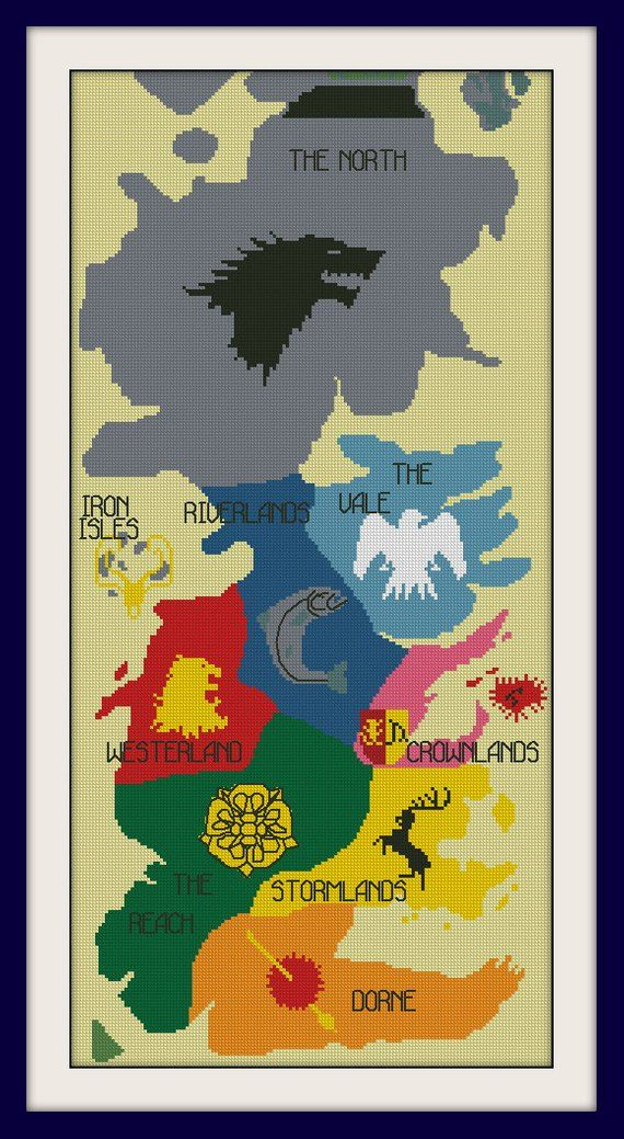 Map Of Westeros Cross Stitch Pattern Game Of Thrones Cross