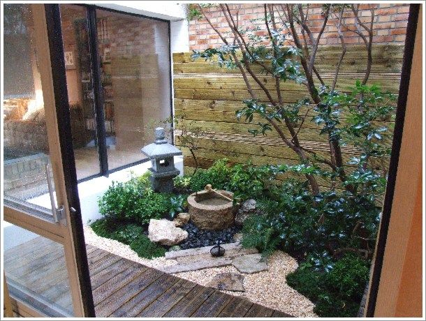 Japanese Style Garden Interior Design with Small Pond - Home ...