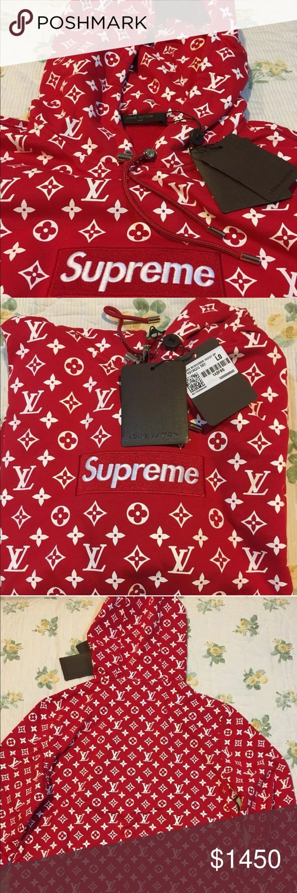 Supreme Louis Vuitton Hoodie 100% Authentic apparel , Tags, original Louis Vuitton box guaranteed Authentic, please text before buying, have more pics available , Supreme New York, guaranteed arrival. Ups Priority shipping , if interested text or call (248) 372-9303 Louis Vuitton Sweaters
