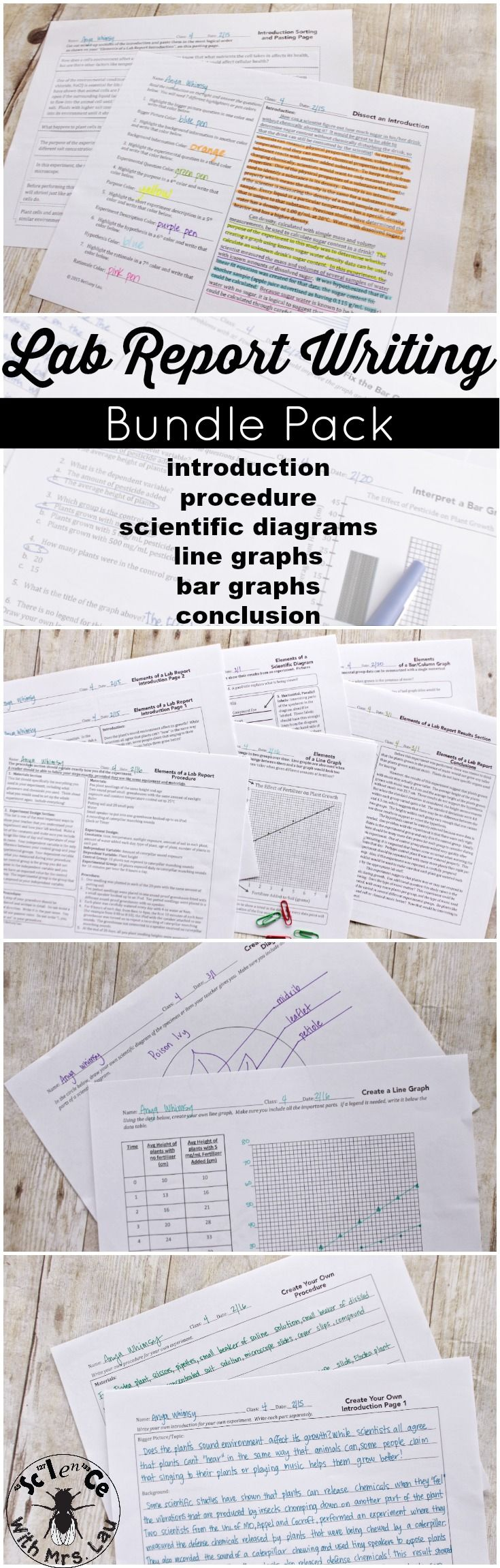 I created this bundle of activities because I have had students in my high school class who have never written a lab report!  This bundle shows them step by step how to write an introduction, a methods section, a data section, a conclusions section, and how to create different types of graphs for their lab report.