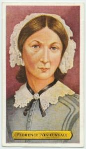 NYPL                                                           Image Title :  Florence Nightingale.  Specific Material Type : Photomechanical prints  Standard Reference : Cartophilic reference books, W72-1  Source : [Cigarette cards.] / Builders of Empire : a series of 50.  Location : Stephen A. Schwarzman Building / George Arents Collection  Catalog Call Number : Arents Cigarette Cards  Digital ID : 1200056  Record ID : 478033  Digital Item Published : 8-18-2004…