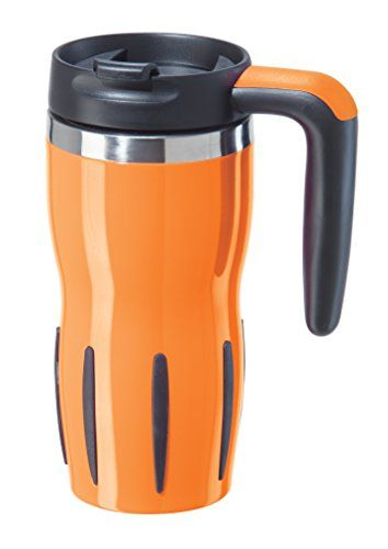 8d840d24e72 Oggi 8067.12 Double Wall Stainless Steel Travel Mug, 16 oz, Neon Orange --  Click image to read more details.