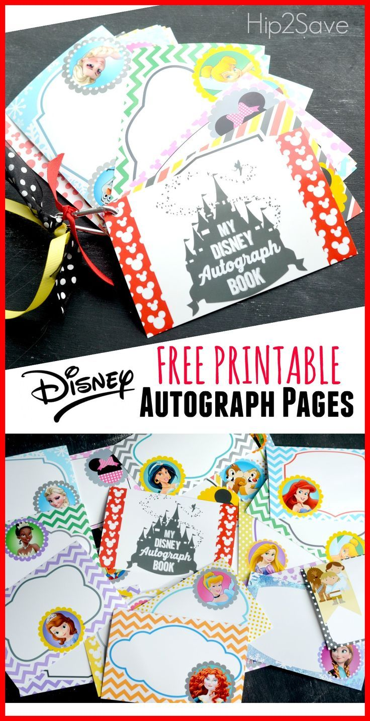 Free printable Disney character autograph pages (Perfect for Upcoming Disney Trip).