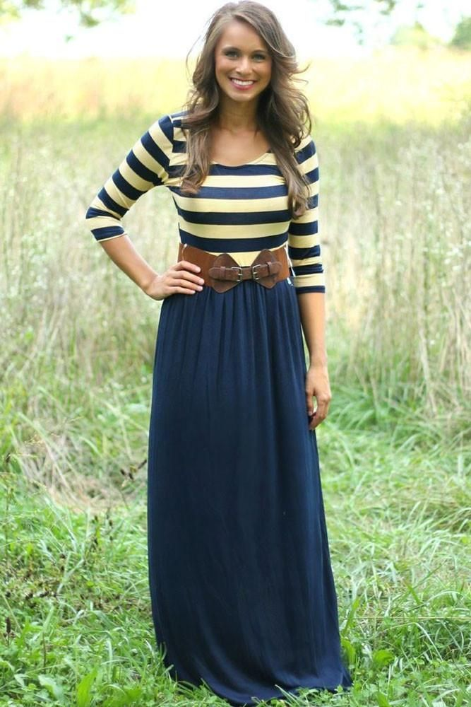 Maxi Robes A Rayures Impression Et Marine Robe En Jersey Pas Cher www.modebuy.com @Modebuy #Modebuy #CommeMontre #dress #me #Rose